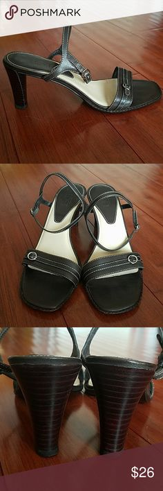 """ANN TAYLOR LOFT BROWN LEATHER OPEN TOED SANDALS ANN TAYLOR LOFT BROWN LEATHER OPEN TOED SANDALS.  Worn a dozen times.  SUPER COMFORTABLE and easy to wear due to the 3"""" heel.  A small pit in the pad of the left shoe.  You don't see it or feel it when they are being worn.  Size 7.5 LOFT Shoes Sandals"""