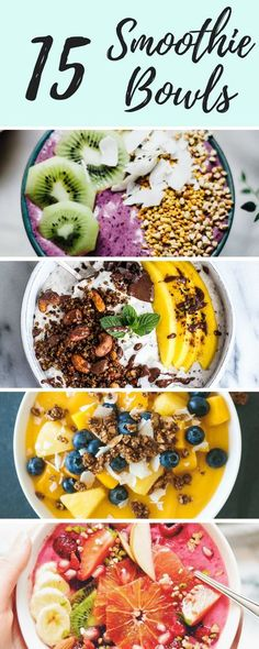 15 Smoothie Bowls to Power Your Breakfast (breakfast smoothie recipes brunch) Healthy Desayunos, Healthy Drinks, Healthy Snacks, Healthy Eating, Healthy Breakfasts, Healthy Nutrition, Clean Eating Vegetarian, Vegan Snacks, Smoothies Vegan
