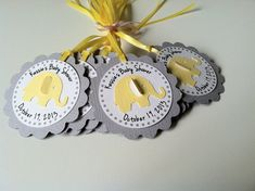 12 Yellow and Grey Elephant Personalized Favor Tag for Baby Shower of 1st Birthday by PaperTrailbyLauraB, $14.40