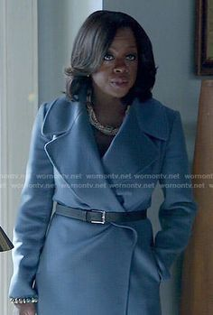 Annalise's blue wrap coat on How to Get Away with Murder.  Outfit Details: http://wornontv.net/53449/ #HTGAWM