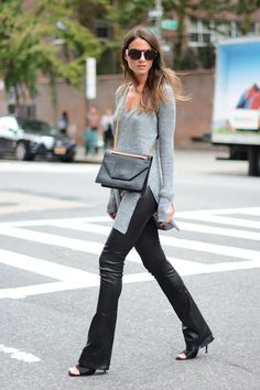 Leather Pants: J Brand, Mules: Zara, Bag: Saint Laurent, Sunglasses: Opening Ceremony, Sweater: Zara