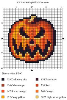 Free Cross Stitch Pattern - Scary Halloween pumpkin