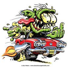"""1959 Chevrolet Corvette """"Monster with Attitude"""" #Chevrolet #Chevy #Corvette #monster #weirdo #cartoon #artwork"""