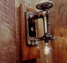 industrial wall sconce repurposed sewing machine edison lamp