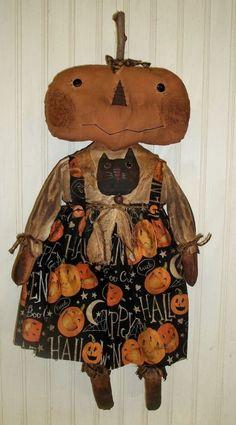 Primitive Grungy Mrs Jack'O'Lantern Pumpkin Girl Halloween Doll #NaivePrimitive