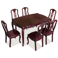 Rosewood French Dining Table Set With 6 Chairs