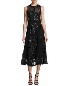 Sleeveless+Embellished+Floral+Tulle+Midi+Dress,+Black+by+Nanette+Lepore+at+Neiman+Marcus.