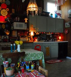"""Adorable kitchen from """"Sam's Carriage House Meets Gypsy Caravan"""""""