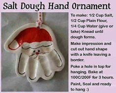 salt dough hand ornament christmas christmas crafts christmas decorations christmas crafts for kids christmas tree ornaments chistmas diy Santa Ornaments, How To Make Ornaments, Homemade Ornaments, Holiday Ornaments, Santa Hand Ornament, Santa Handprint Ornament, Custom Ornaments, Glitter Ornaments, Christmas Crafts