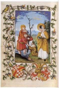 A page from the Book of Hours of Christopher I, Margrave of Baden-Baden (shown in the background), an illuminated Upper Rhine manuscript, c.1519, depicts St Christopher, carrying the Christ Child (his attribute), and St Odilia/Odile of Alsace, with her symbolic attributes of her eyes (she was born blind, but recovered her sight on baptism) on a chalice and holy book.