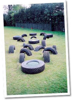 Use old tyres to make a temporary obstacle course. Change it and try hopping, rolling a ball, or jumping over the course.