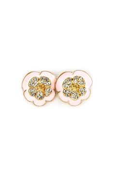 Cute pink and gold glitter poppy earrings.