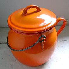 Vintage French Orange Enamelware Cookware Thingy by OddandOld, £25.00