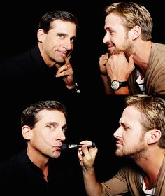 Steve Carrell and Ryan Gosling. The best part is that Ryan Gosling is using a brush to put make-up on his lips.