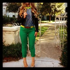 green jeans and chambray for evening