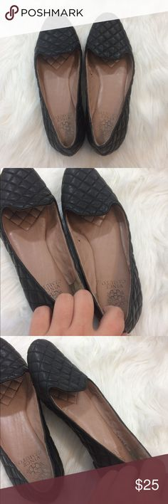 "Vince Camuto Quilted Leather Flats Pre loved Vince Camuto loafers. Do have some peeling inside the shoe and there is a spot where the glue is coming loose: all shown in photos. Leather upper, man made lining and sole. .75"" Heel height: no trades. Vince Camuto Shoes Flats & Loafers"
