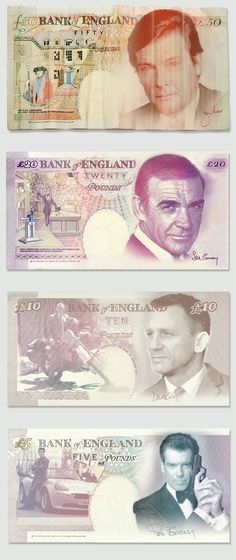 copy and print as gifts for favors for your guests The best James Bond actors as banknotes