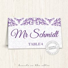 purple wedding printable seating cards editable wedding place cards escort cards template guest names digital download