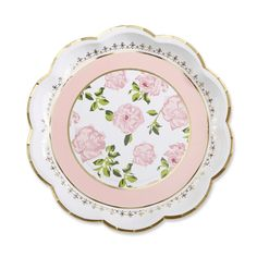 24ct Tea Time Paper Plates Pink