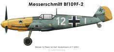 Karl Vockelmann Bf109F-2 Weisse 12 III./JG53 Wrk.Nr.8093 Maldeghem in the spring of 1941.
