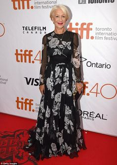 Beauty: Dame Helen Mirren continued to flaunt her sartorial prowess as she stunned in a glamorous gown at the premiere of new  warfare film Eye In The Sky at the Toronto International Film Festival on Friday evening