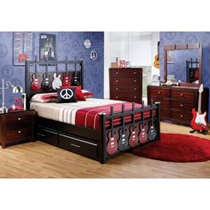Boy guitar bedroom on pinterest guitar decals and for Guitar bedding for boys