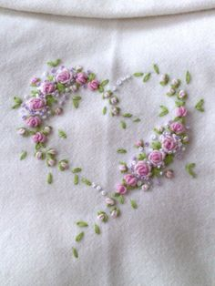 Stylised Rose Heart Hand Embroidery ....... delicate embroidery !
