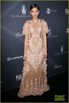 Zendaya Does a Dress Change at Weinstein Company's Pre-Oscar Dinner | zendaya weinstein company pre oscar dinner marchesa