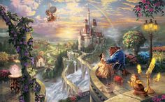 Love disney company castles movies fantasy art beast magic rainbows vehicles airship villages thomas kinkade waterfalls fairy tales beauty and the beast wallpaper background