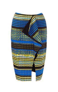 Shop Dot Printed Tulip Slit Pencil Skirt by Prabal Gurung for Preorder on Moda Operandi