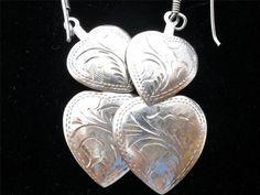 Engraved Double Heart Sterling Silver Valentine Pierced Dangle Earrings Vintage   eBay
