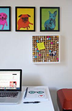 Moderne Pinnwand im Pop Art Stil und lustige Bilder