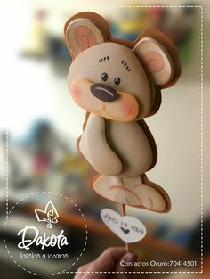 Bear Cookies, Biscuit, Pasta Flexible, Tole Painting, Animal Crafts, Polymer Clay, Dolls, Christmas Ornaments, Holiday Decor