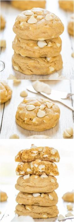 Soft and Chewy White Chocolate Cream Cheese Cookies - Move over butter, cream cheese makes these cookies thick and super soft!