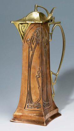 ✨  CARL DEFFNER, ESSLINGEN - Jugendstil-Kanne, ca. 1900, Kupfer/Messing, Höhe: 38.5 cm, Fabrikmarke im Boden