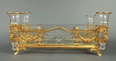 French Bronze & Baccarat Crystal Centerpiece - x x Sold for on Jun 2017 Crystal Centerpieces, Centrepieces, Ancient Greek City, Baccarat Crystal, European Furniture, Crystals In The Home, Bronze, Table Accessories, Table Toppers