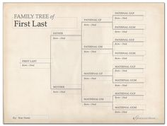 Free Printable Family Tree Chart Template. Decorations for Family History Activity