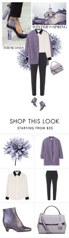 """winter to spring"" by helena99 ❤ liked on Polyvore featuring Art Addiction, Rebecca Taylor, Karl Lagerfeld, Dorothy Perkins, Maison Margiela, MICHAEL Michael Kors, blouses, coat, lilac and karllagerfeld"