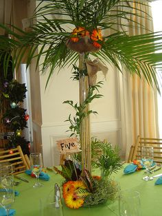 Luau themed centerpiece-palm tree table-floral- by Gold Event Planner- The leading Bar and Bat Mitzvah Event Planner in Rhode Island and Massachusetts Aloha Party, Party Fiesta, Tiki Party, Luau Party, Beach Party, Luau Theme, Hawaiian Theme, Hawaiian Luau, Luau Birthday