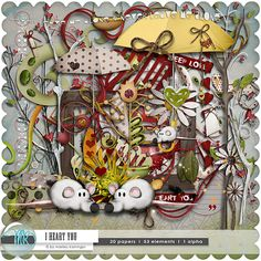 Such cool elements to use for your scrapbooking! - i heart you  digital scrapbooking kit 1 alha  I  20 by scrapstube, $5.49