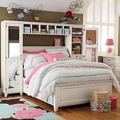 H&ton Storage Bed + Mirror Tower Set & Hampton Storage Bed + Bookcase Tower Set #pbteen Does anybody want ...