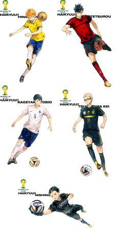 HQ!! with football instead of volleyball - (Left-to-right) Hinata, Kuroo, Kageyama, Tsukishima & Nishinoya