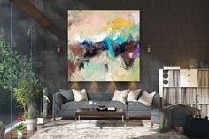 Items similar to Large Modern Wall Art Painting,Large Abstract wall art,painting colorful,xl abstract painting,canvas wall art on Etsy Large Abstract Wall Art, Large Canvas Art, Large Painting, Texture Painting, Canvas Wall Art, Painting Canvas, Texture Art, Gold Canvas, Canvas Canvas