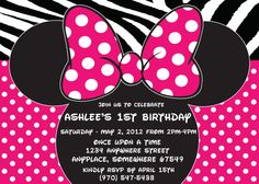 FREE with purchase of 75.00-Hot Pink Minnie Mouse-Polka Dot Invitation- Digital File. $16.00, via Etsy.