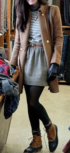 Sub hiking boots + tights + wool skirt + striped top + wool blazer. Perfect for cold weather!