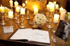 I like the mixture of lower, smaller flower arrangements and then candles at different levels.