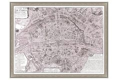 Map of Paris, Purple on OneKingsLane.com, printed on fine art paper with a silver wood frame, available in two sizes $159 - $189