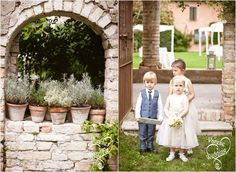 champagne color flower girls dress # blue page boy suit # country chic wedding in italy