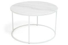 Sohvapöytä Titania Valkoinen marmori/Valkoinen - Pyöreä 80x50 cm | Kodin1.com
