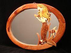Hand Carved Wood Art Intarsia MERMAID Wall Mirror by MyHeritageUSA, $69.00